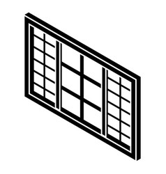 Wood window frame icon simple black style vector