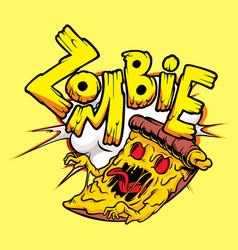 Zombie pizza vector