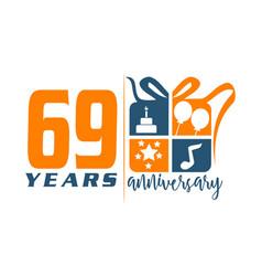 69 years gift box ribbon annivers vector