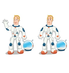 Astronaut in two poses vector image