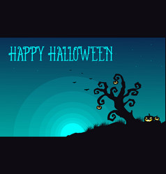 halloween with tree and pumpkin background vector image