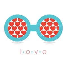 Hearts reflection eyeglasses vector