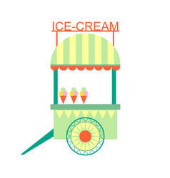 Ice-cream snack stand on wheels part of amusement vector