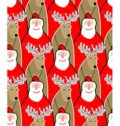 Santa Claus and reindeer seamless background vector image vector image