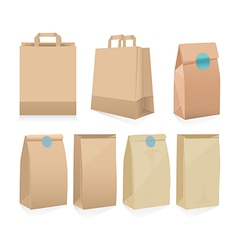 Set of seven recyclable brown paper bags vector image vector image