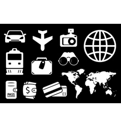 set travel white icon vector image vector image