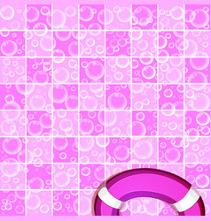 Soap bubbles on tiled pinkl background and life vector