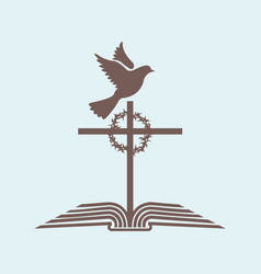 the cross of jesus and the bible with the dove vector image vector image
