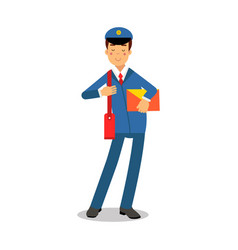 cheerful postman in blue uniform with red bag vector image vector image