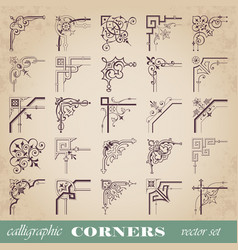decorative calligraphic corners in vintage style vector image