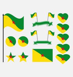french guiana flag set symbols flag in heart vector image