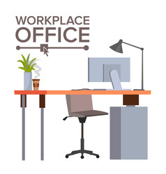 office workplace concept office desk vector image