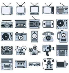 Retro electronic icons vector image