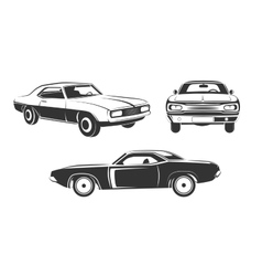 Classic retro muscle cars set vector image