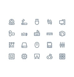 Computer components icons Line series vector image