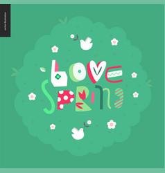 love spring bench fun letetring vector image