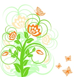 of a floral background with butterflies vector image vector image