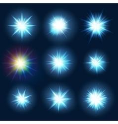 Set various forms of blue burst sparks EPS 10 vector image