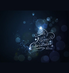 blue sparkling merry christmas and happy new year vector image vector image