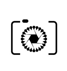 photography logo with floral aperture vector image vector image