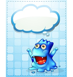 A happy blue monster with an empty cloud callout vector image