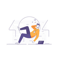 a relaxed it technician vector image