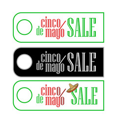 a set of sale label tegs at cinco de mayo in three vector image