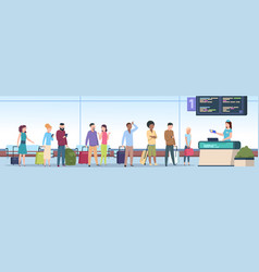airport queue airplane passengers check vector image