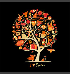 Art tree with spain symbols for your design vector