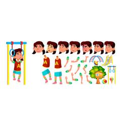 asian girl kindergarten kid animation vector image