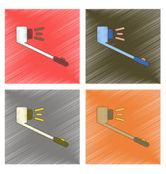 Assembly flat shading style selfie stick vector