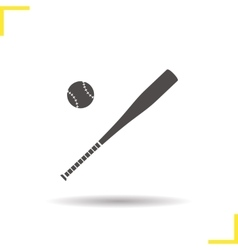 Baseball bat and ball icon vector