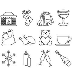 Black and white winter icons 2 vector image