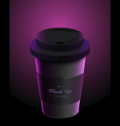 Black coffee cup with holder mockup on background vector