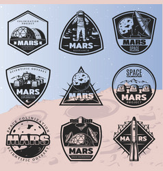 Black vintage space discovery labels set vector