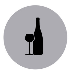 blue emblem wine bottle with glass icon vector image