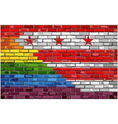 brick wall washington dc and gay flags vector image