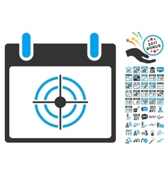 Bullseye Calendar Day Flat Icon With Bonus vector