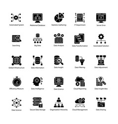 Bundle of data science glyph icons vector