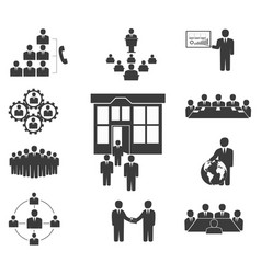 business people office icons conference vector image