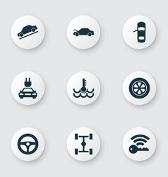 Car icons set with repair signal temperature and vector