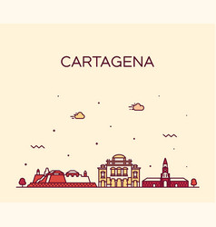 cartagena skyline colombia big city linear vector image