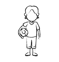 Cartoon boy kid holding ball soccer image vector