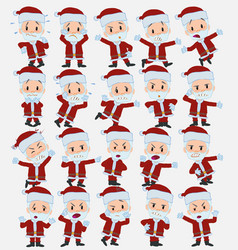 cartoon character santa claus set with different vector image