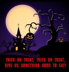 cartoon halloween night scary poster vector image