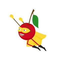 cartoon superhero character cherry flat design vector image