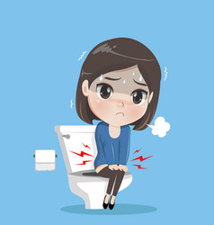 Caucasian woman sitting on toilet bowl and vector