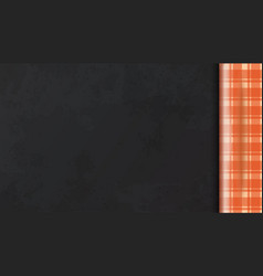Checkered orange tablecloth on the table top view vector