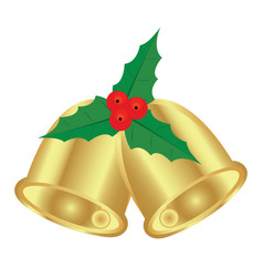 christmas bells and holly vector image