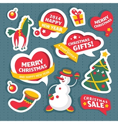 Christmas labels and decoration elements vector image